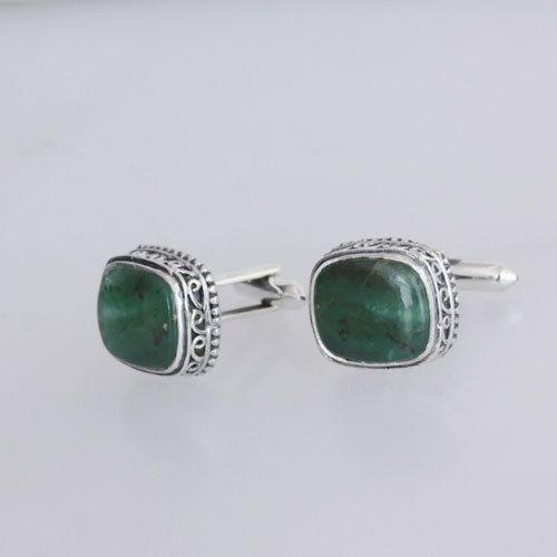 Chrysoprase Gemstone Cufflinks Jewelry, Personalised Silver Cufflinks, 925 Sterling Silver, Handmade Cufflinks, Designer Cufflinks, Inc-14