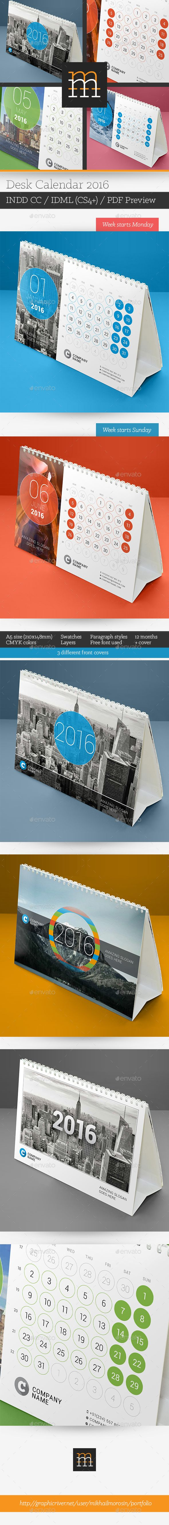 Desk Calendar 2016 Template InDesign INDD #design Download: http://graphicriver.net/item/desk-calendar-2016-/13542036?ref=ksioks