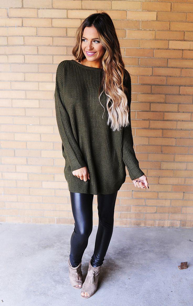 Olive Button Back Knit Sweater - Dottie Couture Boutique