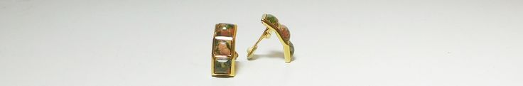 Jade Clip On Earrings, Stacked, Gold Tone, Vintage Costume Jewelry