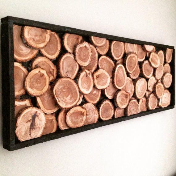 Sur mesure : abstrait sculpture bois tranche. Dimensions : 40 X 24
