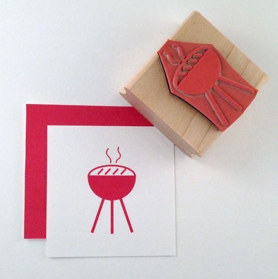Barbeque Grill Rubber Stamps