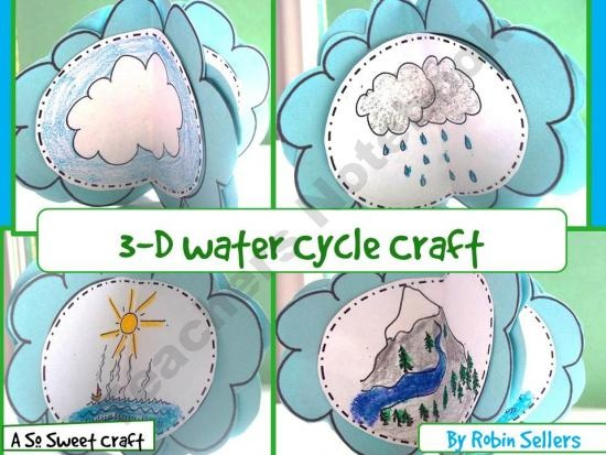 Water Cycle Craft: {A So Sweet Craft 3-D Water Cycle Craftivity} product from Sweet-Tea-Classroom on TeachersNotebook.com