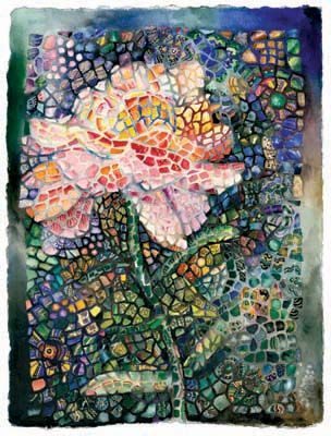 Mosaic Flower: Mosaics Flowers, Future Crafts, Pink Flowers, Charlsi Kelly, Rose Mosaics, Watercolors, Crafty Crafts, Water Colors, Mosaics Art And Crafts Style