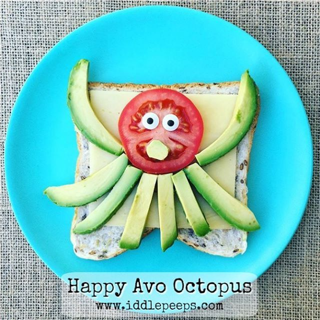 "366 Likes, 22 Comments - iddle peeps ✨Fun Family Ideas (@iddlepeeps) on Instagram: ""✨Happy Avo Octopus... for a creative, nutrient rich, cheerful snack time! Simple & quick to prepare…"""