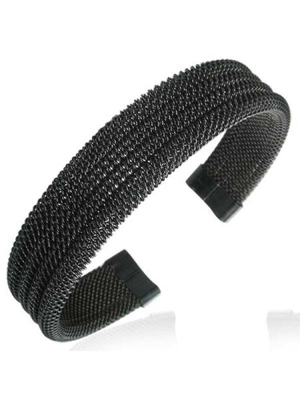Black stainless steel bracelet. All stainless steel, costume, wolfram/tungsten and leather jewelry is delivered in free, shock-proof envelopes offered by BeSpecial.ro - online jewelry store.