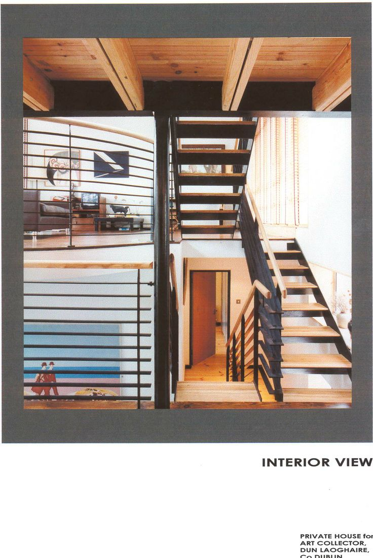 This is the interior of a new house located in a mews lane in Dun Laoghaire. Designed as a multi-level dwelling, the stairs is a prominent feature both practically and visually. Yet, despite the uniqueness of the design, this was not an expensive house to build. (When I was at Paul O'Toole Architects).