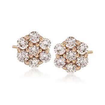Ross-Simons - 1.00 ct. t.w. Diamond Flower Stud Earrings in 14kt Yellow Gold - #791527.   5/16 inch / 8mm in diameter. Closeout: $1,395.00 ($2,495.00)
