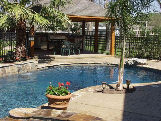 outdoor pool and patio design ideas 'tropical backyard pool, kitchen & patio ideas' | Pool
