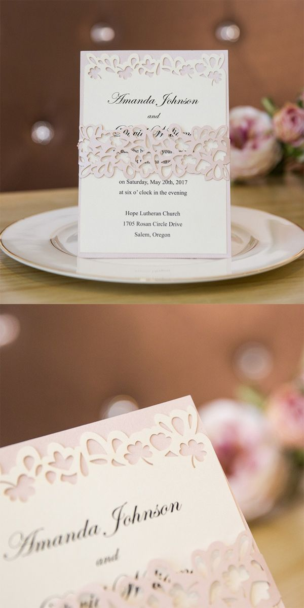 elegant blush pink laser cut wedding invitations