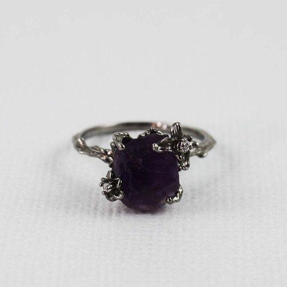 Black Rough Amethyst Ring gemstone ring raw stone by tooriginal, $68.00