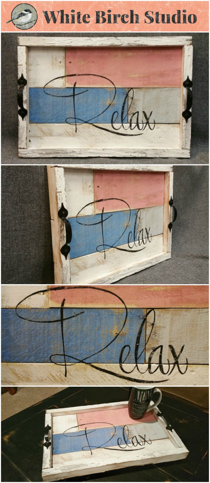 """Distressed wood Serving Tray, table tray, Rose Quartz, Distressed reclaimed peeling paint, & Summer porch, and Rustic """"relax""""  This unique piece is 18 in x 13 in.   A nice, summer touch to your front porch or your coffee table. Bring it along in your camping trailer to remind you to """"Relax""""!  This tray is made from reclaimed pallet wood, painted with acrylic paints and sanded for the aged effect."""