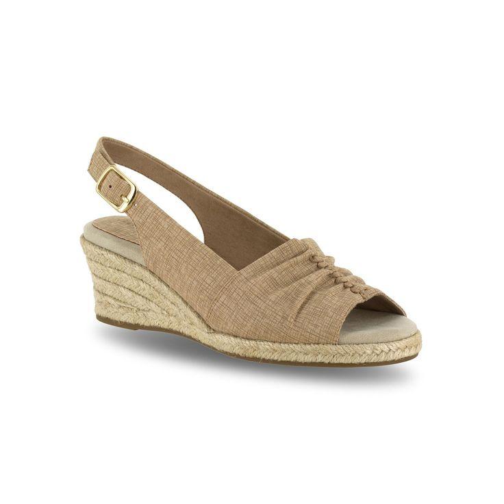 Easy Street Kindly Women's Espadrille Wedge Sandals, Size: medium (9), Beig/Green (Beig/Khaki)