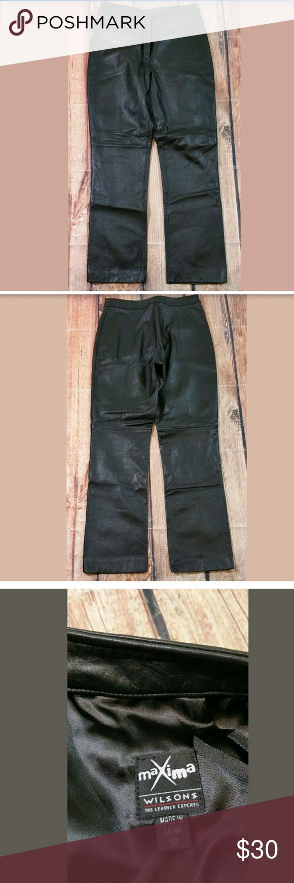 """Wilsons Leather Maxima Leather Motorcycle Pants Wilsons Leather Maxima Black Leather Motorcycle Biker Pants Womens Size 12 1 Front Zippered Pocket  Measurements: Waist = 30"""" Outseam Length = 40"""" Inseam = 30""""  Condition:  Great Pre-Owned Condition from clean pet/smoke free home. Wilsons Leather Pants Straight Leg"""