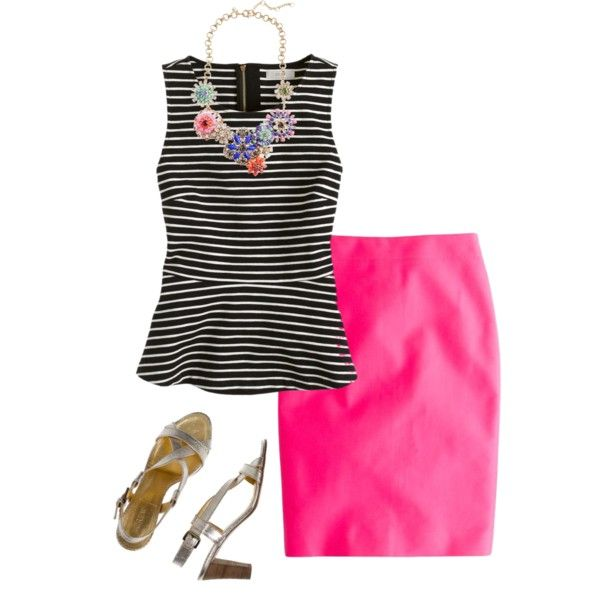 """""""Untitled #127"""" by forget-me-not22 on Polyvore - outfit idea: striped shell and colored pencil skirt"""