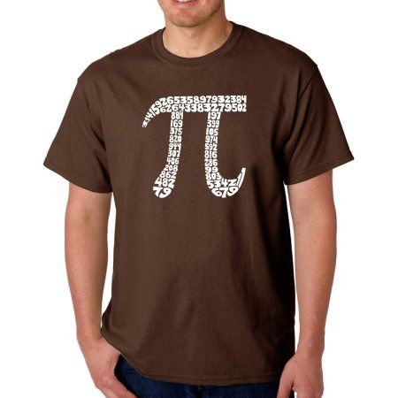 Los Angeles Pop Art Men's T-shirt - The First 100 Digits of PI, Size: 3XL, Brown