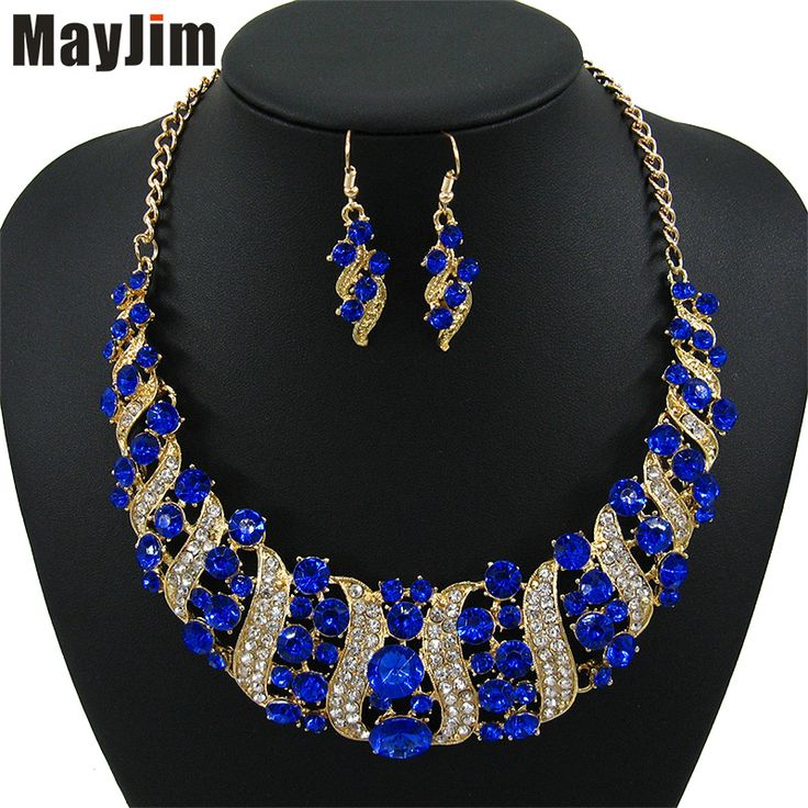 2017 mode vrouwen bruiloft kettingen sets vintage colar rhinestone crystal choker kettingen etnische maxi sieraden sets