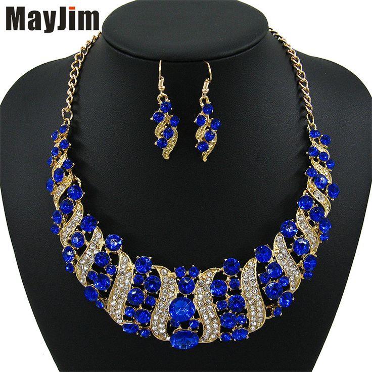 2017 Fashion Women Wedding Necklaces sets Vintage Colar Rhinestone  crystal Choker Necklaces & Pendants Ethnic Maxi jewelry sets