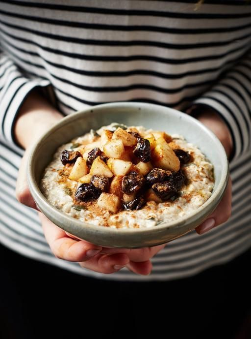 Bircher muesli by Anna Jones  Topped with pears and sour cherries. A delicious, healthy muesli you can make the night before