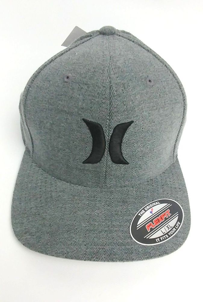 Hurley Men s Black Suits Flexfit Cap Gray Size L XL Cotton Blend  Hurley   BaseballCap a48f70698c22