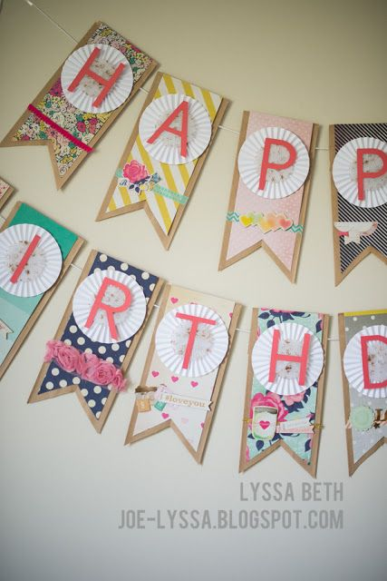 Birthday Banner using #Maggieholmes & her Flea Market Collection and the Craftwell Ebosser.