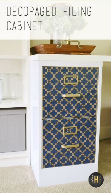 Update a thrift store file cabinet quickly and easily with a decopaged modern style paper   {Home-ology} modern vintage