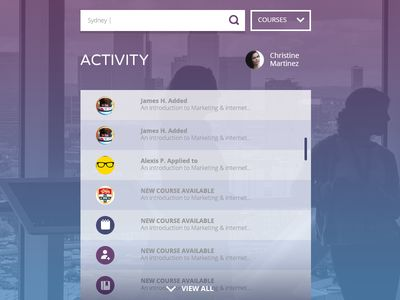 Homepage Activity Feed