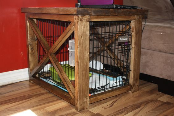 diy dog crate covers   Rustic X end table to cover up dog kennel:
