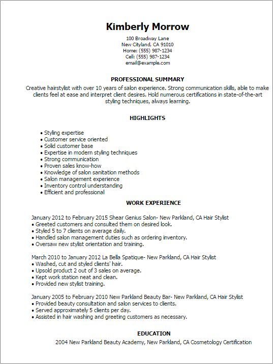 Resume Examples Hair Stylist #examples #resume #