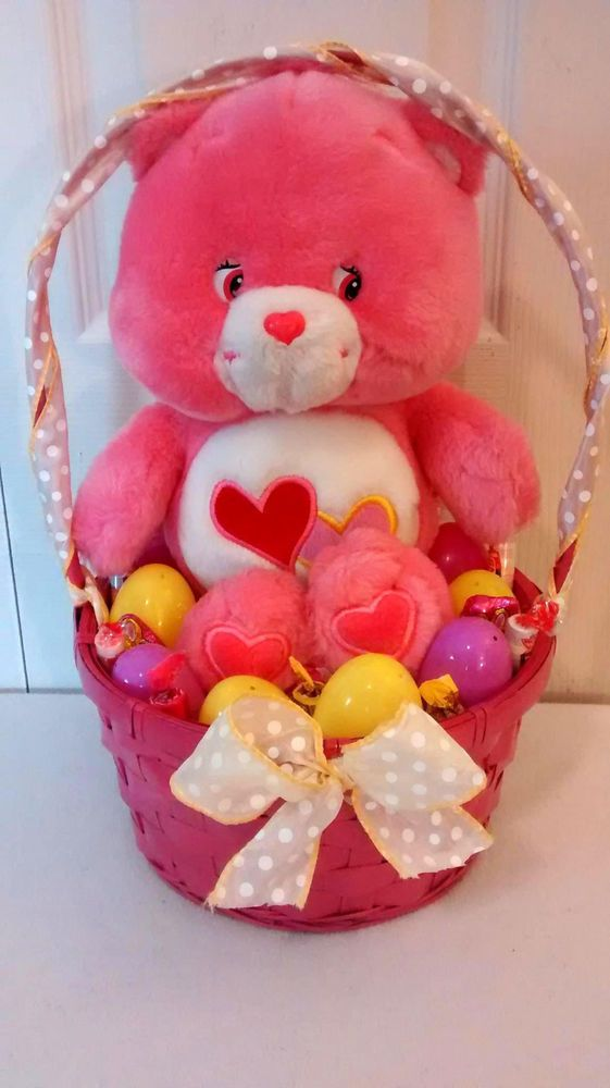 Best 25 easter gift baskets ideas on pinterest boys easter pink love a lot care bear easter gift basket negle Images