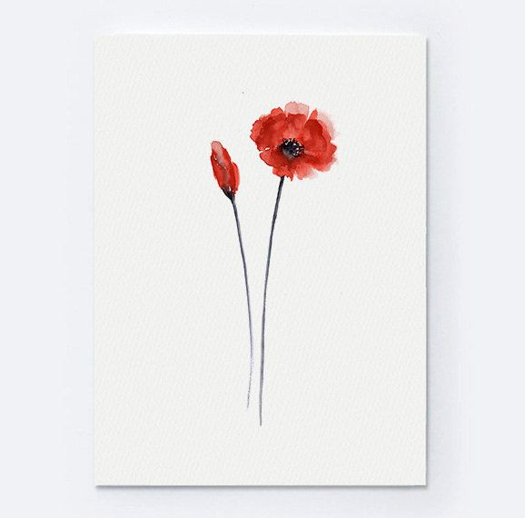 Poppy Giclee Art Print, Watercolor Poster, Floral Living Room Wall Painting, Abstract Flowers, Poppies Home Decor by ColorWatercolor on Etsy