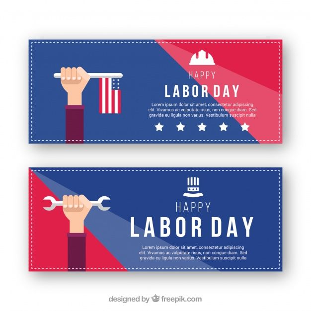 Labor day banners with american flag and wrench #Free #Vector  #Banner #Design #Flag #Banners #Celebration #Happy #Work #Holiday #Happyholidays #Flat #Job #Worker #Flatdesign #Usa #America #Americanflag #Wrench #Labor #Day #Laborday