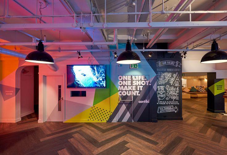 Contiki Basement - Office interior  #handpainted #typography #interiorgraphics #wallvinyl