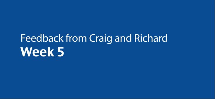 Feedback from Craig and Richard - Week 5