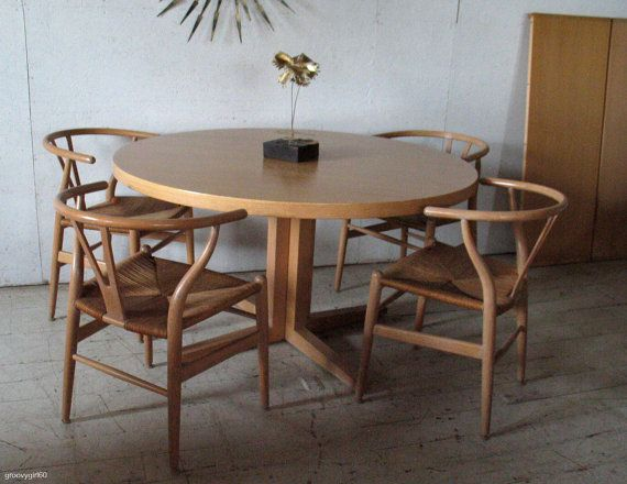 Like The Chairs Vintage Danish Modern Round Extension Dining Table By Groovygirl60 279500