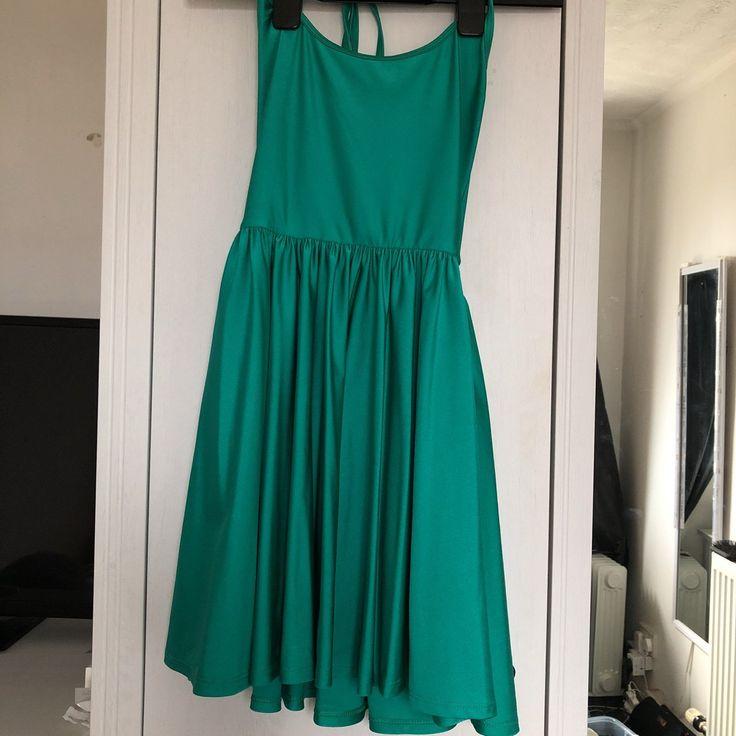b998f7f2d6 American apparel green halter neck skater dress 👗 Slinky - Depop - 10