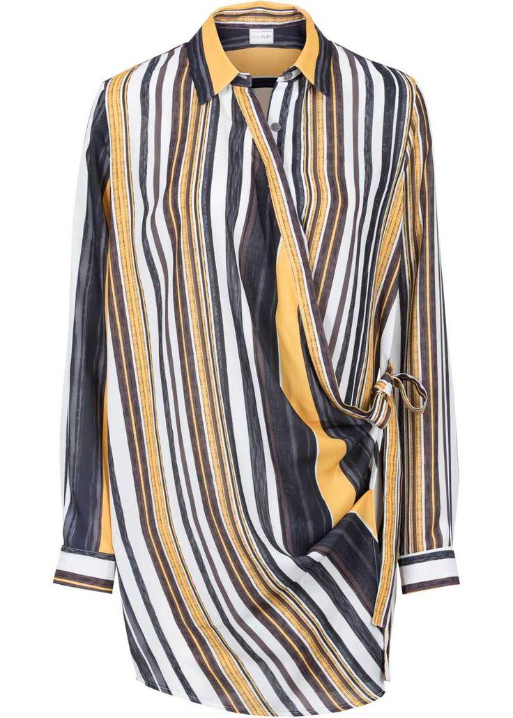 Длинная блузка с запахом, BODYFLIRT, черный/цвет белой шерсти/шафранно-желтый