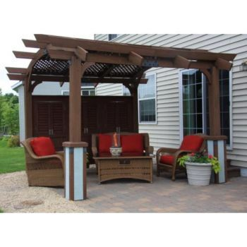 Sonoma Arched Wood Pergola 16x17 Redwood  Sonoma Arched Wood Pergola Revamp your backyard with this Sonoma Arched Wood Pergola and give your outdoors a stylish look. Crafted to perfection with precision cuts, this pergola is designed from high grade wood to offer lasting usage. With its ready-to-assemble design, this pergola offers hassle-free setup and lends protection from wind and sun.
