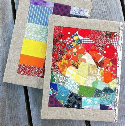 Super sophisticated quilted book covers. Free howto tutorial. Love the colors she chose.