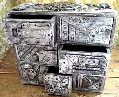 Steampunk Industrial boxes and drawer chests