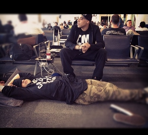 Cam Hunter and Bucky Buck (Down With Webster) chilling in the airport