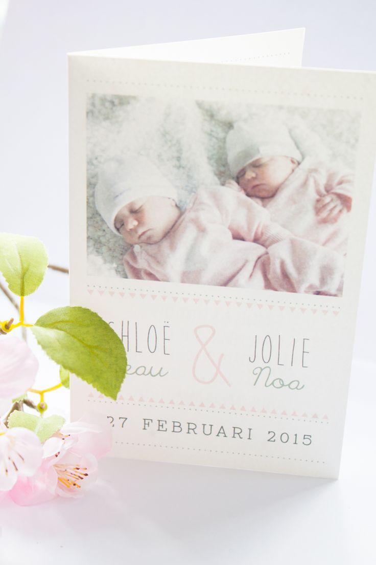 Geboortekaartje tweeling meisjes ontwerp door twins tweeling geboortekaartje - Bebe ontwerp ...