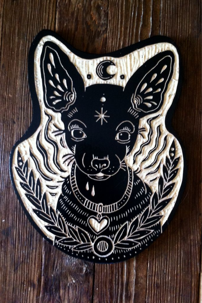 Bryn Perrott - Woodcuts and such Looks like a dream dog to me...near the bed maybe?