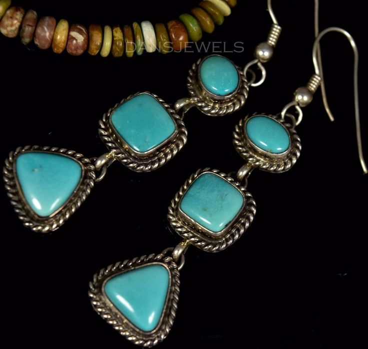 OLD Pawn VTG Navajo 3 Stone Sleeping Beauty Turquoise Dangle Sterling Earrings