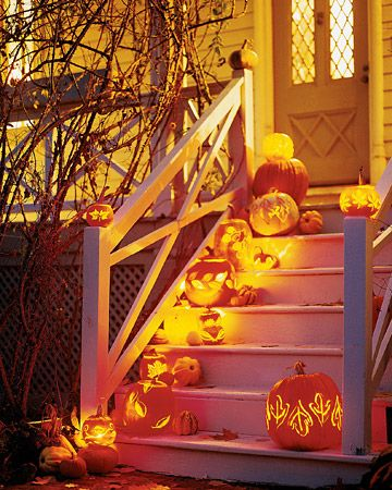 Trick-or-treaters and Halloween guests should feel more welcome than wary ascending a staircase lit up with leaf-carved pumpkin lanterns. The pumpkins' motifs are produced using a variety of basic carving techniques. The resulting patterns are as varied as fallen leaves, which provide the only templates you'll need.