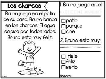 Mis Historias de Comprensión de Marzo (March reading comprehension stories in Spanish)