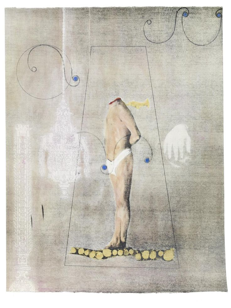 o.T. · 95 x 124 cm · Handkolorierter (Terpentinöl & Lack) Siebdruck auf Büttenpapier · 2010
