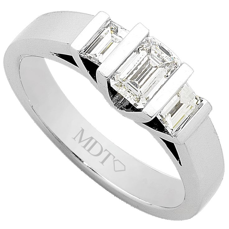 White Gold Three Stone Emerald Cut Diamond Ring C979