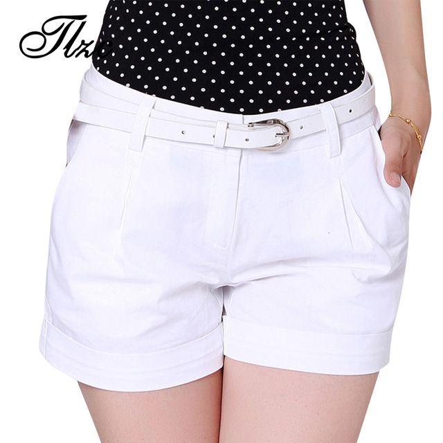 Corea Del Verano de la Mujer Pantalones Cortos de Algodón del Tamaño S-2XL de TLZC Nuevo Diseño de Moda de Señora Casual Pantalones Cortos de Color Sólido de Color Caqui/Blanco