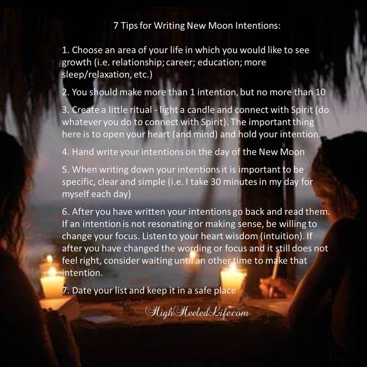Using the power of the new moon to set intentions for what you want in your life.